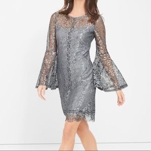 NWT WHBM Lace Bell Sleeved Silver Dress